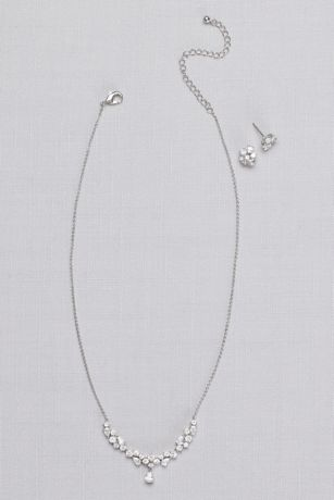 Cubic Zirconia Cluster Necklace and Earring Set