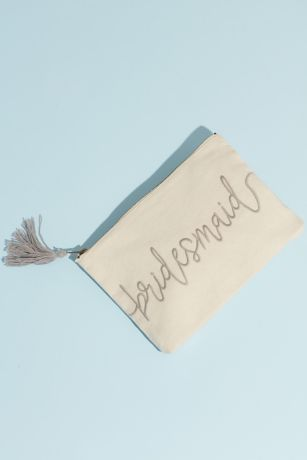 Canvas Script Bridesmaid Pouch with Tassel