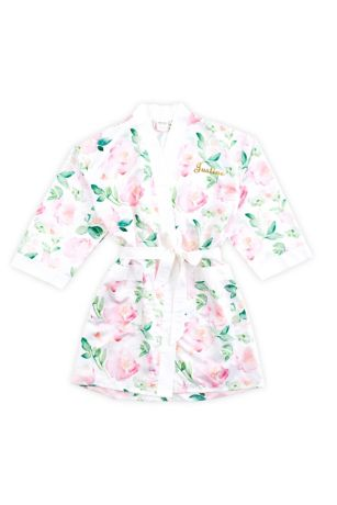 Personalized Watercolor Floral Silky Kimono Robe