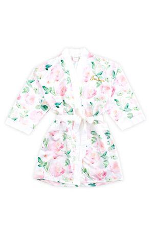 Personalized Watercolor Floral Silky Kimono Robe
