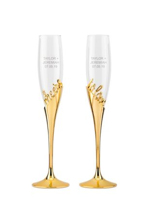 Cheers to Love Gold Champagne Glass Set