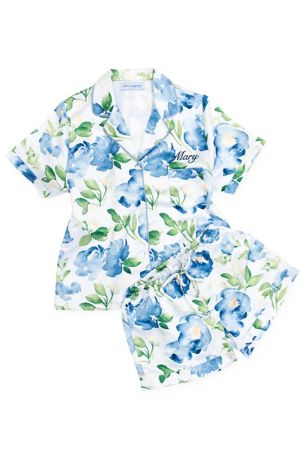 Personalized Floral Satin Pajama Sleep Set