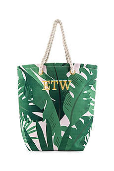 Personalized Tropical Leaf Print Canvas Tote