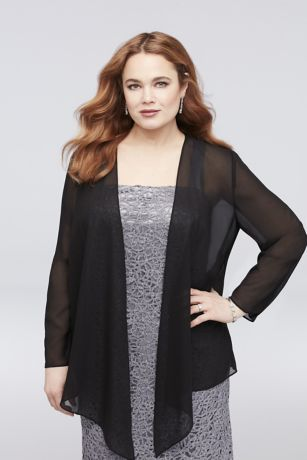Chiffon Plus Size Jacket with Asymmetrical Hem
