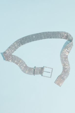Mesh Crystal Rows Belt with Buckle
