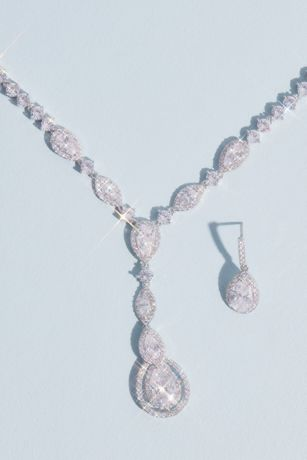 Teardrop Cut Pendant Necklace and Earring Set