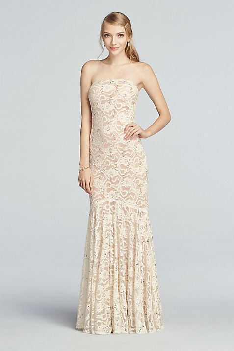Strapless All Over Sequin Lace Prom Dress | David\'s Bridal
