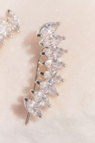 Cubic Zirconia Marquise Leaf Climber Earrings