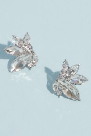 Marquise Crystal Cluster Stud Earrings