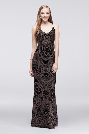 Long Slip Dress with Glitter Print | David\'s Bridal