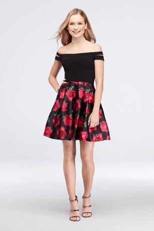 Short Ballgown Off the Shoulder Dress - Blondie Nites