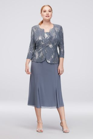 Tea Length Jacket Dress - Alex Evenings