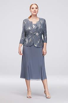 Tea Length Jacket Formal Dresses Dress - Alex Evenings