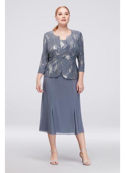 Sequin Burst Plus Size Tea Length Dress And Jacket Davids Bridal