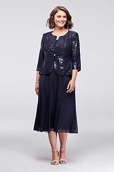 Tea Length Jacket Formal Dresses Dress - Alex Evenings