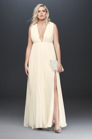 Long Sheath Wedding Dress - Fame and Partners x David's Bridal
