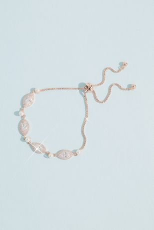 Alternating Faux Pearl and Crystal Chain Bracelet