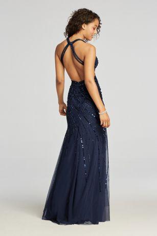 Halter Beaded Prom Dress With Thigh High Slit David S Bridal