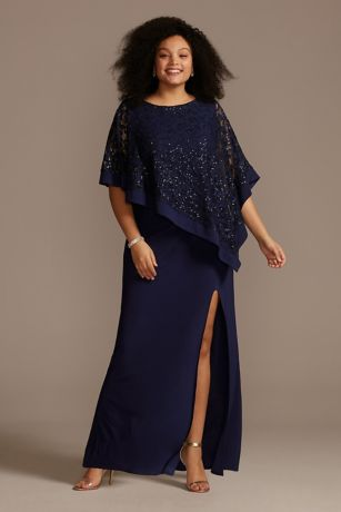 Long Sheath Capelet Dress - RM Richards