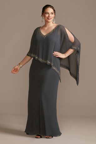 Long Sheath Capelet Dress - Jkara