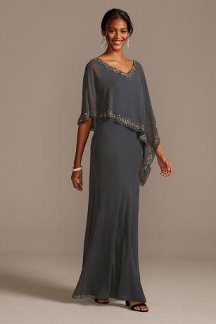 Long Sheath Capelet Dress - Jkara