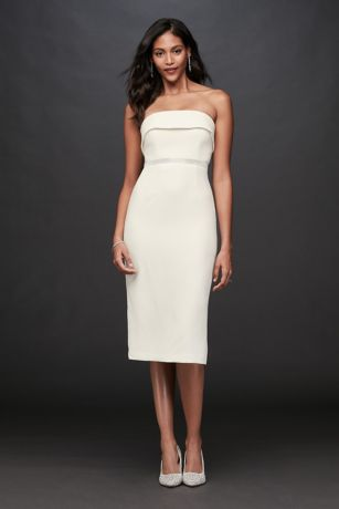 Short Sheath Strapless Dress - Bardot