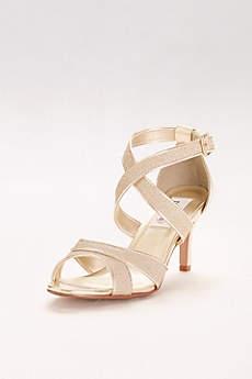 Dyeables Black (Glitter Crisscross Strap Mid-Heels)