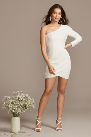 Short Sheath One Shoulder Dress - Bardot