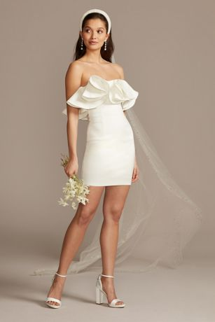 Short Sheath Wedding Dress - Bardot