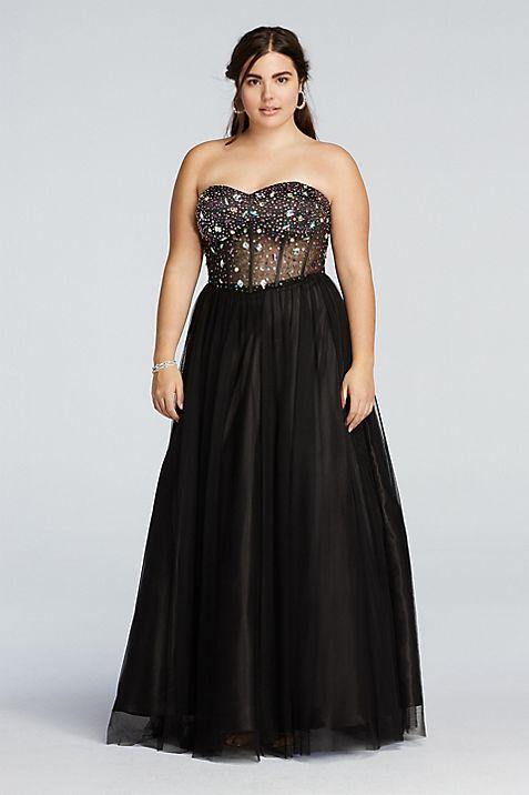 Crystal Beaded Illusion Corset Prom Dress | David\'s Bridal