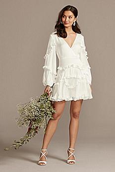 Bardot Charmeuse Ruffle Mini Dress with Back Tie 55079DB
