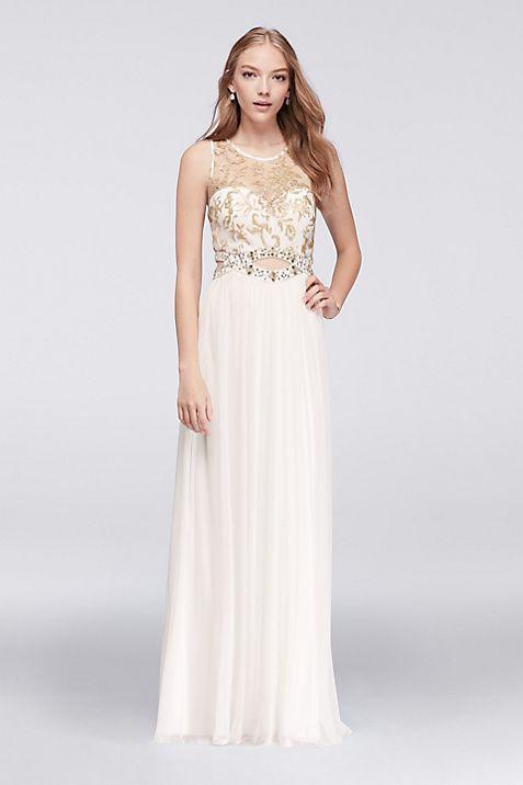 Illusion Tank Prom Dress with Gold Beaded Cutout | David\'s Bridal