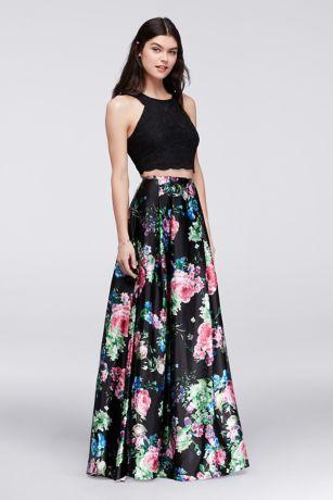 Cutaway Crop Top And Floral Skirt Two Piece Set David S