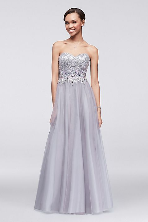 Crystal Beaded Strapless Ball Gown | David\'s Bridal