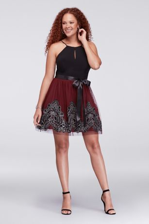 Jersey and Glitter-Print Tulle Plus Size Dress