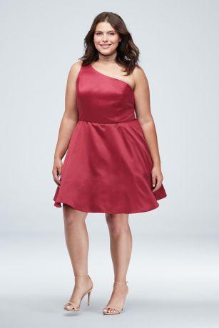 One Shoulder Strap Plus Size Dress with Pockets