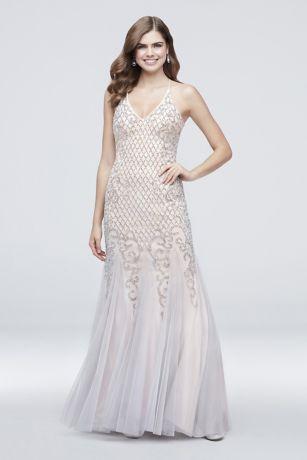 9b5f1a06427c0 Long Mermaid  Trumpet Spaghetti Strap Dress - Xscape