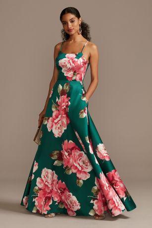 Floral Mikado Spaghetti Strap Racerback Gown