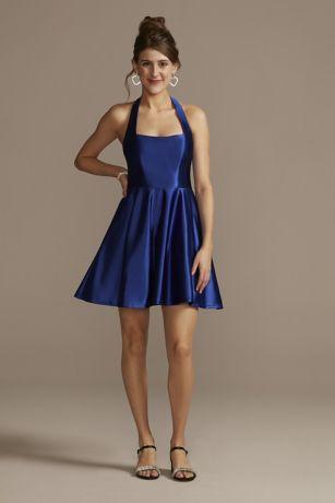 Short A-Line Halter Dress - City Triangles