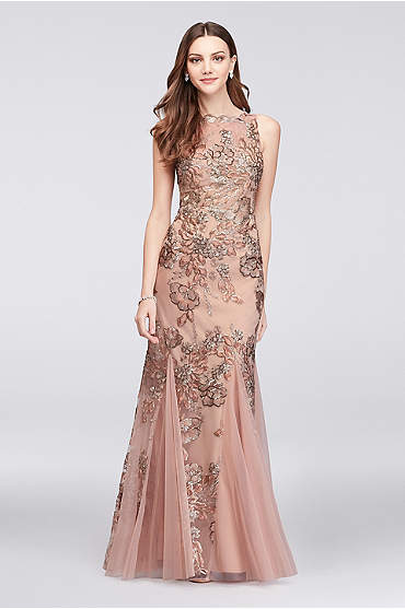 Embroidered Floral Sequin Mesh Mermaid Gown