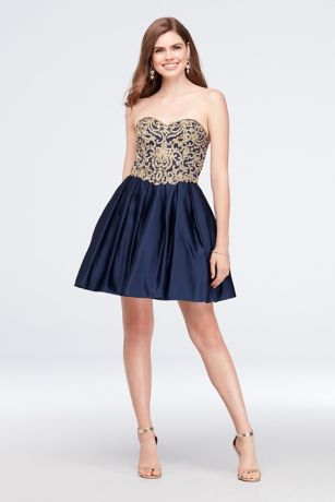 Short Ballgown Strapless Dress - Blondie Nites