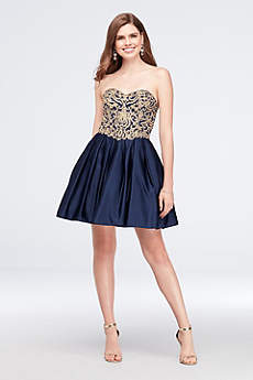 Appliqued Satin Fit-and-Flare Sweetheart Dress
