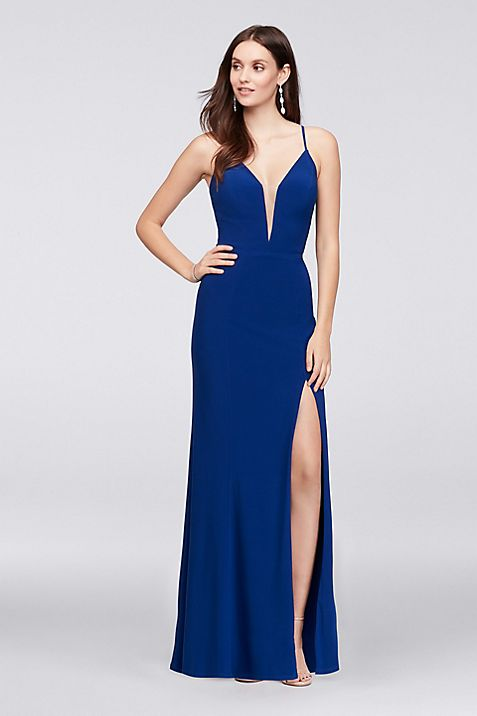 Lace-Up Back Plunging Stretch Jersey Sheath Gown | David\'s Bridal