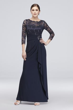 Long-Sleeve Lace and Jersey Cascade Dress
