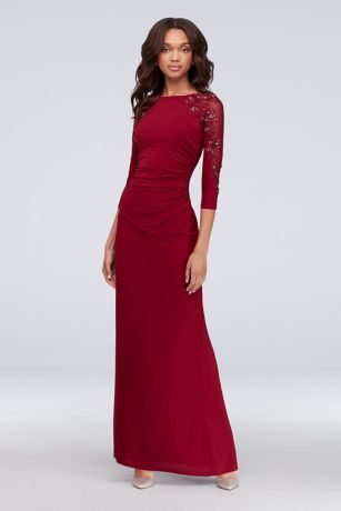 3/4-Sleeve Boatneck Sheath Gown with Sequins