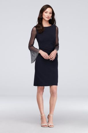 Short Sheath Long Sleeves Dress - Cachet
