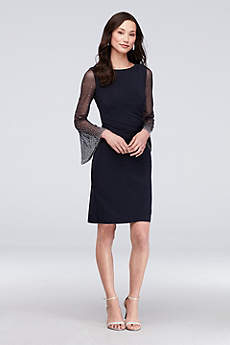 Short Sheath Long Sleeves Cocktail and Party Dress - Cachet