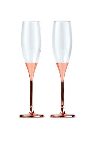 Rose Gold Rhinestone-Studded Champagne Glass Set