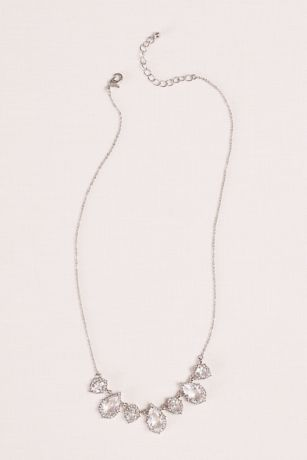 Crystal Pear  Shaped Pendant and Pave Necklace