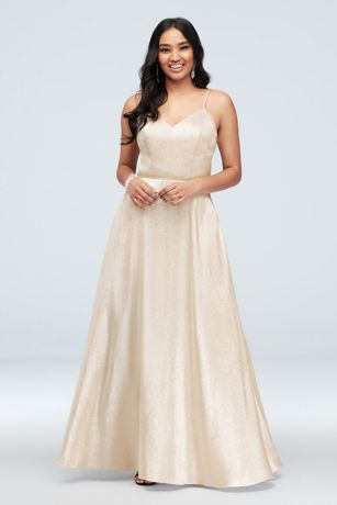 Long Ballgown Spaghetti Strap Dress - Cachet